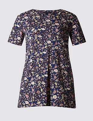 PLUS Floral Handkerchief Hem Tunic, NAVY MIX, catlanding