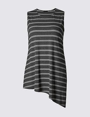 PLUS Asymmetric Hem Striped Tunic, GREY MIX, catlanding