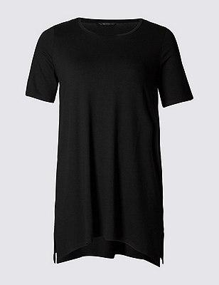 PLUS Handkerchief Hem Tunic, BLACK, catlanding