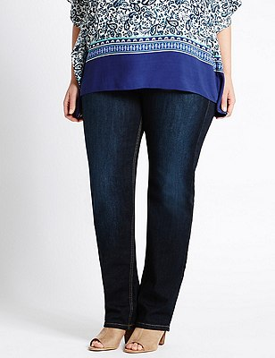 PLUS Straight Leg Denim Jeans, MEDIUM INDIGO, catlanding