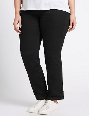 PLUS Straight Leg Denim Jeans, BLACK, catlanding