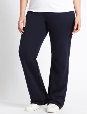 Plus Cotton Rich Straight Leg Joggers With Staynew M Amp S