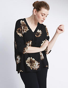 PLUS 3/4 Sleeve Floral Top