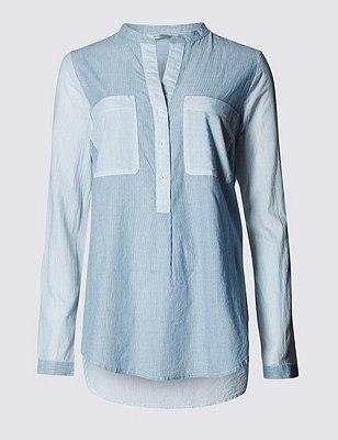 PLUS Pure Cotton Striped Shirt, INDIGO MIX, catlanding