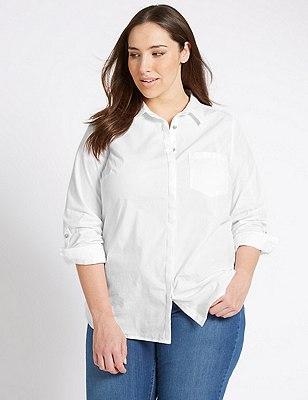 PLUS Pure Cotton Long Sleeve Shirt, WHITE, catlanding