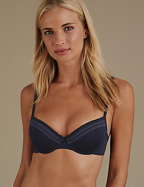 2 Pack Lace Trim Padded Underwired Balcony T-Shirt Bras A-DD, NAVY, catlanding