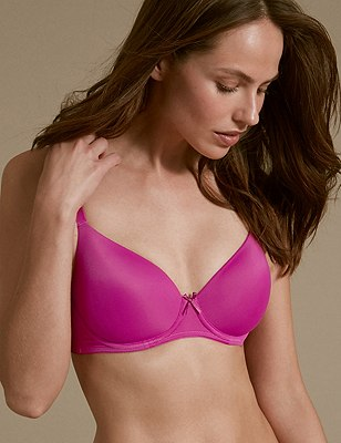 2 Pack Padded Underwired Full Cup T-Shirt Bras A-DD, MAGENTA MIX, catlanding