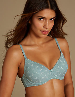 2 Pack Cotton Rich Padded Underwired Full Cup T-Shirt Bras A-E, BLUE MARL, catlanding