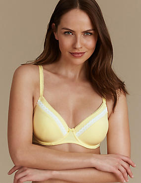 2 Pack Lace Trim Padded Underwired Full Cup T-Shirt Bras A-E, PALE YELLOW, catlanding