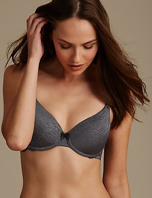 Decorine Marl Lace Wing Padded Full Cup Bra A-E, BLACK/GREY, catlanding