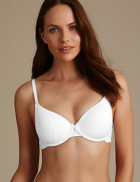 Decorine Marl Lace Wing Padded Full Cup Bra A-E, WHITE, catlanding