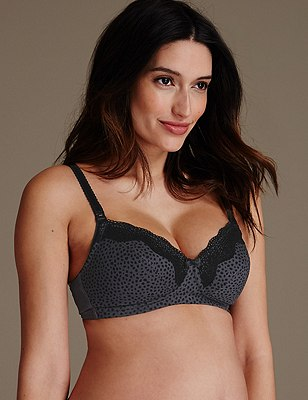2 Pack Maternity Cotton Rich Spotted Non-Wired Nursing Bras B-G, GREY MIX, catlanding