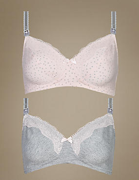 2 Pack Maternity Full Cup Bras B-G, PALE PINK MIX, catlanding