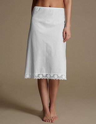 Daisy Cotton Waist Slip, WHITE, catlanding