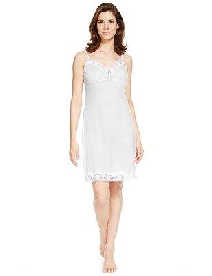 Tencel® Daisy Lace Full Slip , WHITE, catlanding