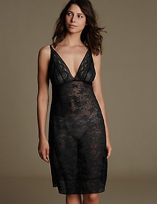All Over Lace Full Slip, BLACK, catlanding