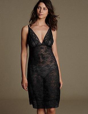 All-Over Lace Full Slip, BLACK, catlanding