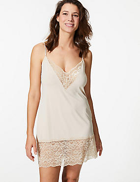 Lace Trim Full Slip, ALMOND, catlanding