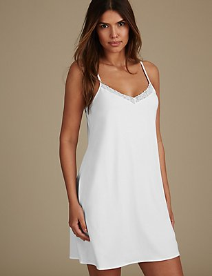 Modal Blend Lace Trim Full Slip , WHITE, catlanding