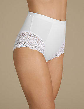 Cotton Rich Vintage Lace Cuffed Full Briefs, WHITE, catlanding