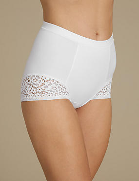 Vintage Lace Low Leg Knickers, WHITE, catlanding