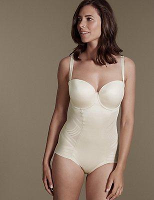 Sterk buikcorrigerende strapless Magicwear™-body met geometrisch motief, cupmaten DD-G, AMANDEL, catlanding