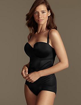 Firm Tummy Control Magicwear™ Geometric Strapless Body DD-G, BLACK, catlanding