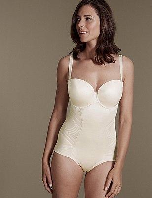 Firm Control Magicwear™ Strapless B-E Body, ALMOND, catlanding