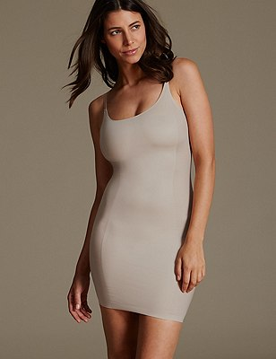 Light Control Sheer Panelled Slip with Secret Slimming™, ALMOND, catlanding