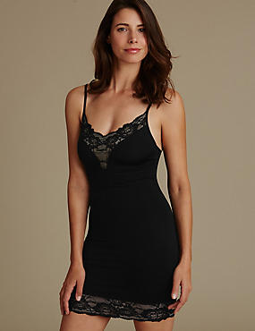Shaping Glamour Lace Slip , BLACK, catlanding