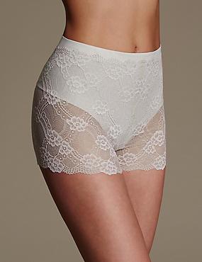 Firm Control Floral Lace Shorts, ALMOND, catlanding
