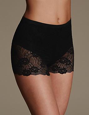 Firm Control Floral Lace Shorts, BLACK, catlanding