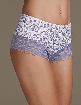 2 Pack Cotton Blend Printed Brazilian Knickers