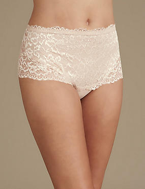 All Over Lace Light Control Secret Slimming™ Thong , ALMOND, catlanding