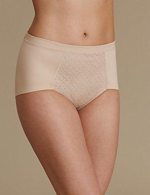 Trellis Lace High Leg Knickers, ALMOND, catlanding