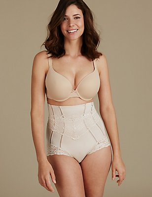 Medium Control Lace Waist Cincher, ALMOND, catlanding