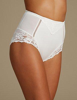 Medium Control Lace High Leg Knickers , IVORY, catlanding