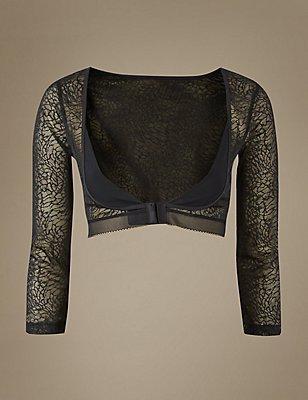 Light Control Textured Lace Armwear, BLACK, catlanding