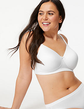 Post Surgery Sumptuously Soft Padded Full Cup Bra A-E, WHITE, catlanding