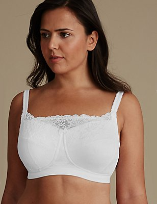 Post Surgery Jacquard Lace Padded Balcony Bra A-DD, WHITE, catlanding
