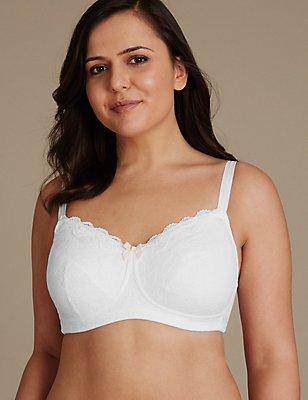 Post Surgery Helanka Lace Overlaid Non Padded Bra B-G, WHITE, catlanding