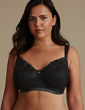 Post Surgery Luxury Embroidery Padded Full Cup Bra A-E, BLACK, catlanding