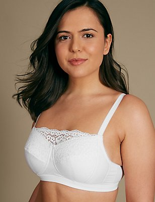 Post Surgery Vintage Lace Padded Full Cup Bra, WHITE, catlanding