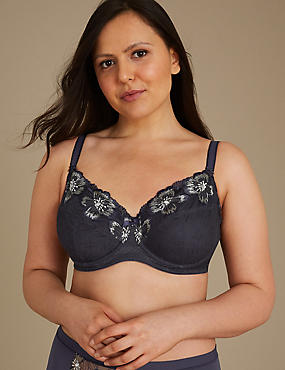 Non-Padded Full Cup Underwired Post Surgery Bra A-DD, NAVY MIX, catlanding
