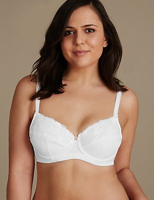 Non-Padded Full Cup Underwired Post Surgery Bra A-DD, WHITE, catlanding