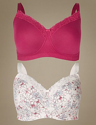 2 Pack Post Surgery Full Cup Bra A-E, RASPBERRY MIX, catlanding