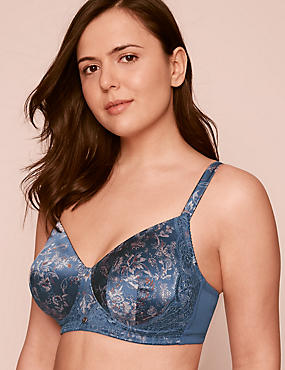 Silk & Lace Post Surgery Padded Bra A-DD, NAVY MIX, catlanding