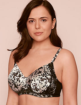 Silk & Lace Post Surgery Padded Bra A-DD, BLACK MIX, catlanding
