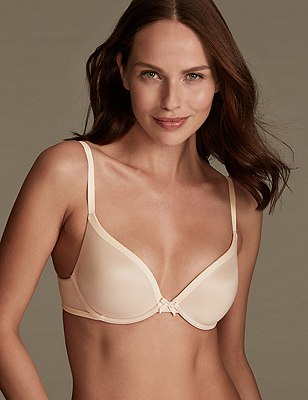 Sumptuously Soft Plunge T-Shirt Bra A-DD, FAWN, catlanding