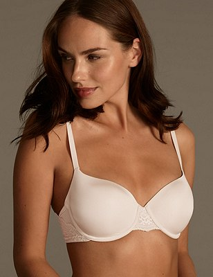 Smoothlines™ Lace Wing Underwired T-Shirt Balcony Bra A-DD, ALMOND, catlanding